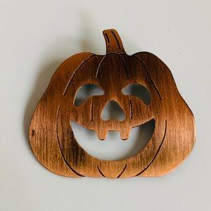 Copper Pumpkin Jack O'Lantern Brooch